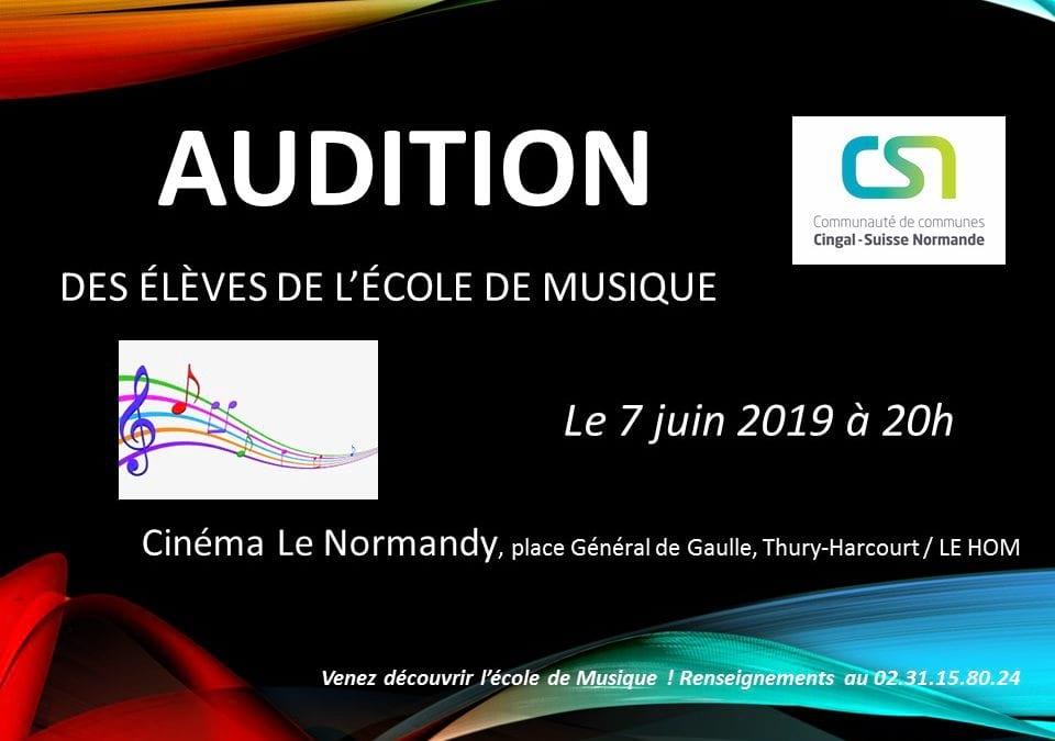 Venez assister à l'audition de l'école de musique le 07 juin !